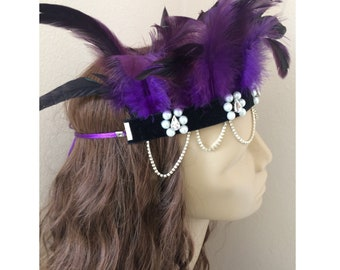 Boho Headband, Gatsby Headband, Feather Headband