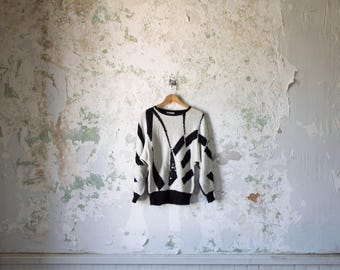 Vintage Black & White Sweater - Abstract Sweater - Sequined Sweater 80s 1980s  Pullover California Small