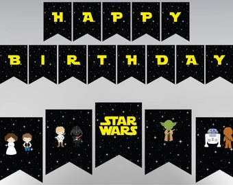 Star Wars Birthday Banner, Party Printable, Personalized, Customizable, Includes all Letters, Numbers & Signs, Printables Digital Download
