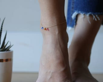 Personalized Birthstone Anklet, Crystal Birthstone Anklet, October's Birthstone: Tourmaline , Mother's Anklet / Dainty Anklets for her