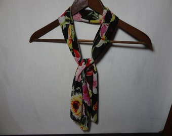Vintage Women's Black, Pink, Red, Purple, Green, White, and Yellow Rectangular Chiffon Hair or Neck Scarf with Floral Design