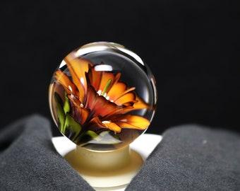 Orange, Yellow And Black Glass Borosilicate Flower marble
