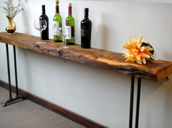 narrow console table reclaimed wood table accent table long. Black Bedroom Furniture Sets. Home Design Ideas