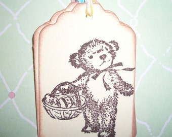 Easter Bear  Tags - Little Bear with Easter Basket - Set of Six