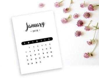 2018 Printable Monthly Calendar - Rustic Black Font Desk Calendar - 5x7 Calendar Home Organizing - 2018 Instant Download Calendar