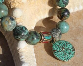 Beaded Bracelet, African Turquoise Bracelet, Big Gemstone Jewelry, Inarajewel