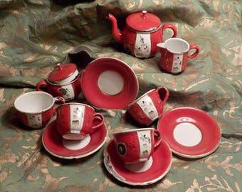 Vintage 30's enamelware dolls tea service