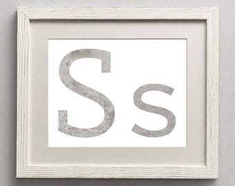 Letter S | Nursery Print | Nursery Art | Alphabet | Instant Download | Digital Print | Wall Art | Gray | Initials | Grey | Gender Neutral
