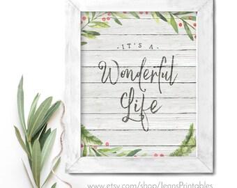 It's a Wonderful Life Christmas Printable; It's a Wonderful Life Christmas Printable Wall Art; It's a Wonderful Life Christmas Decor Print