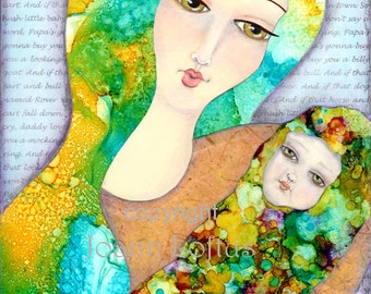 Nursery Wall Art, Baby Room Wall Decor, Whimsical Folk Art, Mother and Child Art, Fine Art Print - 8x10 Hush Little Baby