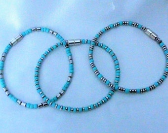 MAGNETIC MINIMALIST BRACELETS combinations.  3  minimalist turquoise bracelets. silver hematite magnetic beads and African turquoise beads