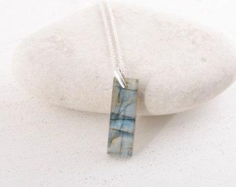 Labradorite Bar necklace/Labradorite Slab necklace/Labradorite stone  necklace