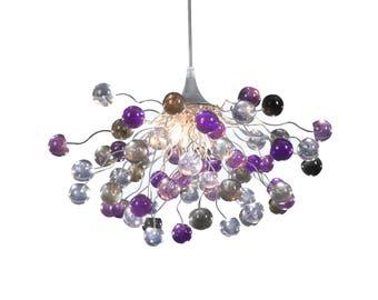 Purple hanging lights, Lighting, hanging Chandeliers, light fixture for Dining Room, children lights.