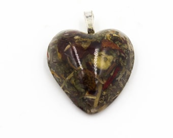 Yule heart shaped Pendant with flower and herb Pendant in Resin, Winter Solstice Yuletide