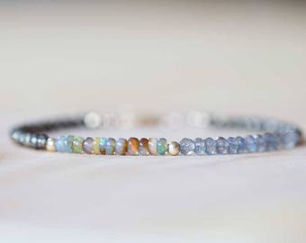 Opal, Pyrite & Labradorite Bracelet, Delicate Gemstone Beaded Bracelet, Labradorite Jewelry, Beaded Pyrite Bracelet, Multi Gemstone Stacking