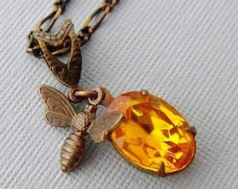 Golden Swarovski Honeybee Necklace, Bee Necklace, Bee Charm Necklace, Bee Pendant Necklace, Honey Bee Jewelry, Honey Bee Necklace, Bee Lover