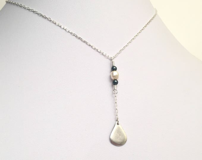 Petite gold or silver Y necklace with pearls