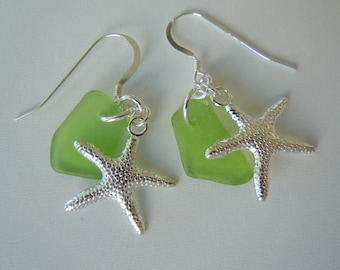 Sea Glass Earrings and Necklace Lime Green  Beach Glass Starfish  Necklace  and Earrings Seaglass Jewelry