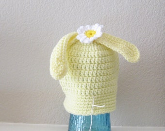 Crochet Easter Toboggan for Baby Yellow Daisy Bunny Hat Beanie with Flower Crocheted Handmade New Night and Day Crochet Etsyturns13