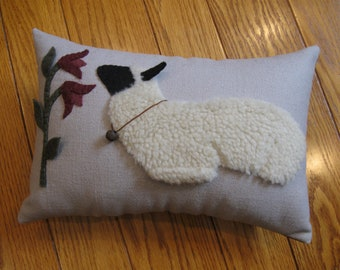 Sheep and Flowers Primitive Wool Applique Pillow