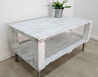 Distressed Aged White Pallet Coffee Table AHVIMA made of Reclaimed Timber, Shabby Chic Old look, Boho Wood Furniture, Rustic  Decor