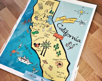California Map Art Print (Cotton Paper) (8 x 10)