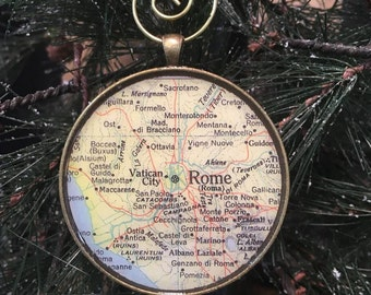 ROME Map Christmas Ornament,  Keep a memory Alive / HONEYMOON Gift / Wedding Map Gift / Travel Tree Ornament / Corporate gift