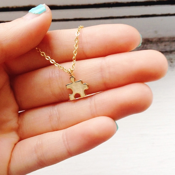Tiny Puzzle Piece Necklace puzzle necklace puzzle jewelry