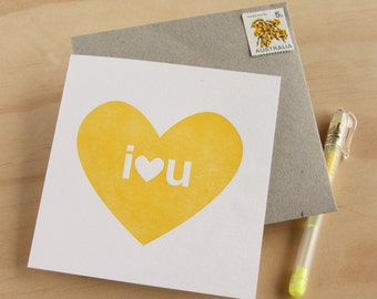 I love you Big I heart U Card for him Father's Day Letterpress Card in sunny yellow simple and bright, cheerful love card, Made in Australia