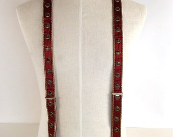 """Vintage 50s, Embroidered Suspenders, Mens Clip Suspenders, Wine Green Gold, Metallic, Circle Pattern,  Silky, Kid Leather, W1 1/8"""", Handsome"""