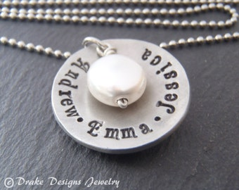 custom hand stamped necklace for mom personalized with kids names