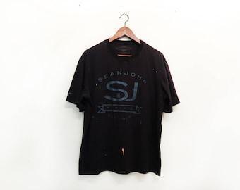 Sean John, T Shirt, 90's. Vintage, Soft, Black, p diddy, puff daddy, Puffy, urban culture, streetwear, rap, hip hop, Bad Boy, Entertainment