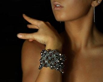 Wide showstopper bracelet, wide cuff, beaded bracelet, beaded cuff