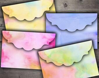 Watercolor Envelopes - Digital Collage Sheet Printables