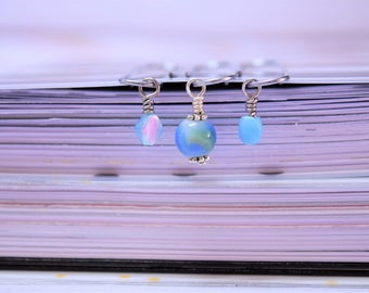 Blue Paper Clips, Paper Clips, Planner Paperclip Set, Blue Paperclip, Beaded Paper Clips, Blue Planner Clip, Beaded Paperclip, Blue TN