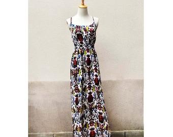 Boho floral prints maxi dress resort dress