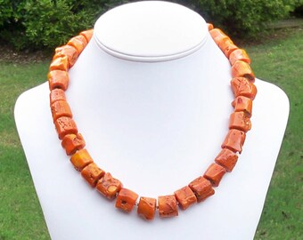 Orange Necklace Orange Coral Necklace Orange Gemstone Necklace Orange Bead Necklace Large Orange Necklace Chunky Orange Necklace for Fall