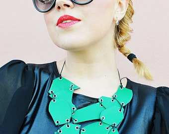 Green Genuine Leather Necklace, TEYXO Leather Necklace, Green Stylish Necklace TLJ74