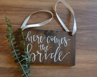 Here Comes the Bride Sign, Rustic Wood Wedding Signs, Flower Girl Sign, Ring Bearer Sign, Ceremony Wedding Signs