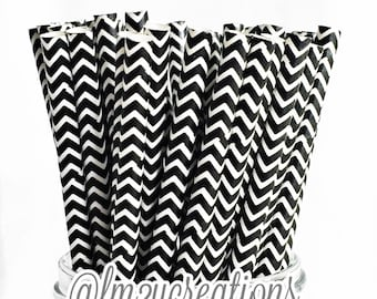 PAPER STRAWS, Black CHEVRON Paper Straws (25) Black and White Paper Straws Black Chevron Straws: Cake Pops, Black White Weddings, Carnival