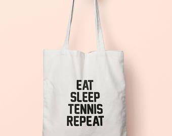 Eat Sleep Tennis Repeat Tote Bag Long Handles TB00666