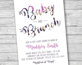 Baby and Brunch Baby Shower Invitation, Baby and Brunch, Baby Shower Invitation, Flower Baby Shower, Printable Baby Shower Invitation, Baby