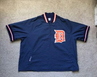 Men's Vintage 90s MLB Detroit Tigers Pullover V Neck Warm Up Jacket Size Xl