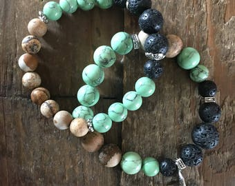 Set of Two Aromatherapy Bracelets to diffuse essential oil