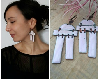 Designer long earrings handcrafted and unique geometric composed of pink enamel - modern style