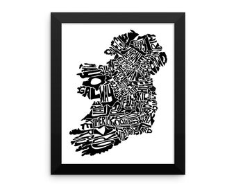 Ireland typography map art FRAMED print customizable personalized custom map poster wall decor housewarming gift home decor