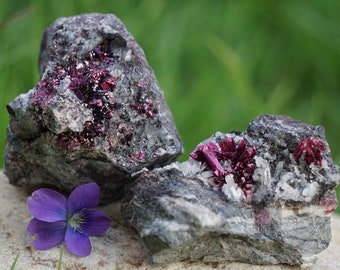 2 ERYHRITE Clusters on Matrixes (268 grams) - Richly Colored Pieces for Your Collection or Crystal Healing Practice