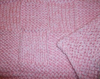 Hugs to Go Checkerboard Knitted Baby Afghan Blanket - Pink and White