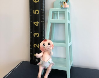TINY BABY DOLL in a High Chair 2 1/2 inches Handmade Hand Painted