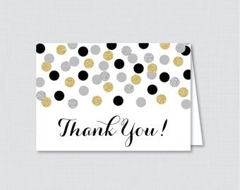 Printable Black and Gold Bridal Shower Thank You Card - Black, Silver and Gold Glitter Polka Dots Bridal Shower Thank You Card - 0001-K